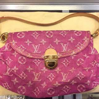 Authentic Louis Vuitton LV pink denim hand bag