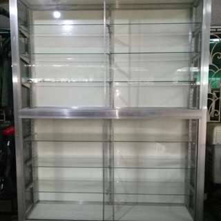 Repriced: Aluminum and Glass Cabinet w Adjustable Shelves
