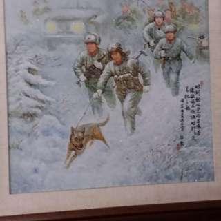 中国人民解放军边防巡逻队瓷板画