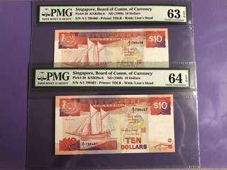 Singapore Ship $10 x 2 Run A1 Prefix