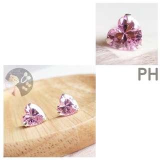 (Silver 925) CZ Pink Heart Silver stud earrings