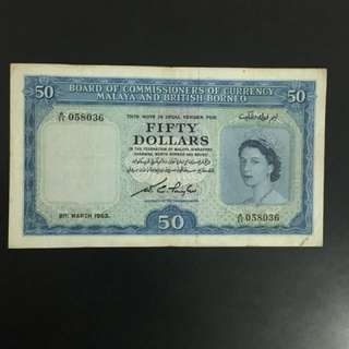 Singapore $50 old banks notes