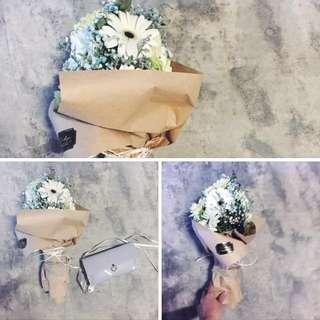 12 Gerberra Bouquet w Blue Baby's Breath