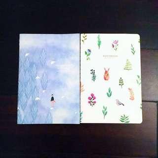 SALE A5 Notebook pastel blue plants