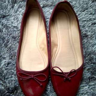 Authentic Celine CLN Red Ballerina Flats size 8