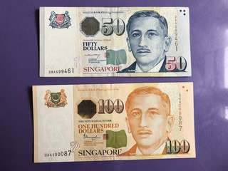 Singapore Portrait $50 & $100 2AA Notes