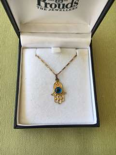 9K gold Hamsa hand/evil eye necklace