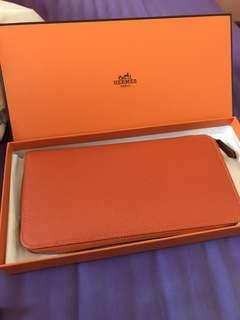 Hermes Silk in Wallet 99% new Silkin 銀包 Feu Orange