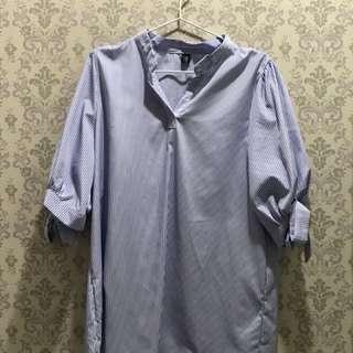 Oversized blue white striped dress/shirt