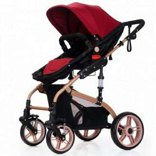 Luxury High Quality Detachable Bassinet Anti Shock Baby Stroller (Maroon Gold)