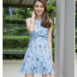 Belle Floral Dress with Sash BNIB