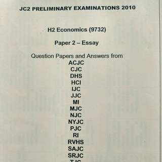 JC A LVL Economics H2, Prelim exam papers