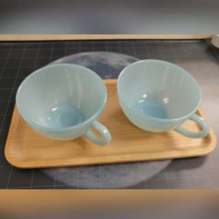 Fire King Anchor Hocking Jadeite vintage Tea cup 2pcs, Light Blue color, Made in USA