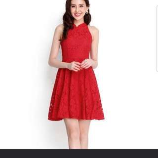 Lilypirates festive flair cheongsam dress in lipstick red