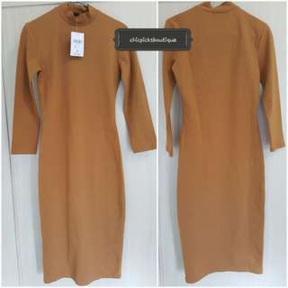 Authentic Forever 21 Long Round neck Tan Dress from Japan