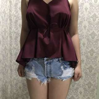 Maroon thin strapped top