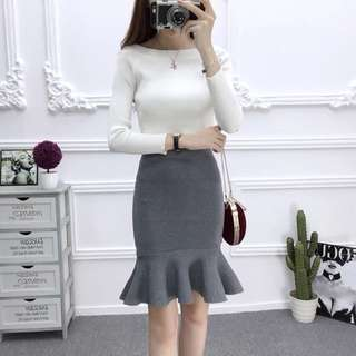 Brand new with tag BNWT grey knitted mermaid bandage skirt