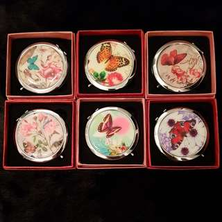 New Bundle of 2 Mini Compact Mirror w/ Gift Box