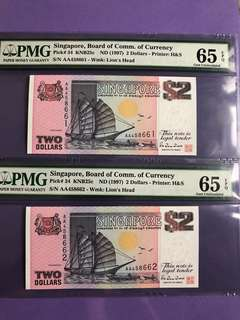 Singapore Ship $2 x 2 Run AA Prefix Notes