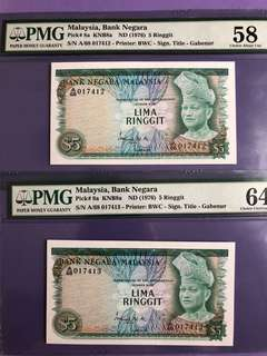 Malaysia RM5 x 2 Run 2nd Series Notes