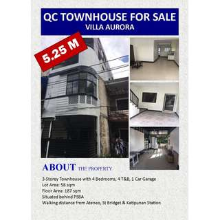 FOR SALE: 3-Storey Townhouse in Quezon City