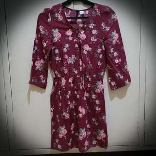 Maroon Floral Dress from H & M