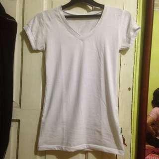 V neck t-shirt white kaos putih