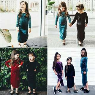 Girls long sleeve velvet dress