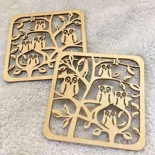 (Latvia) Wooden Stencil-Cut Coaster Duo (Owls)