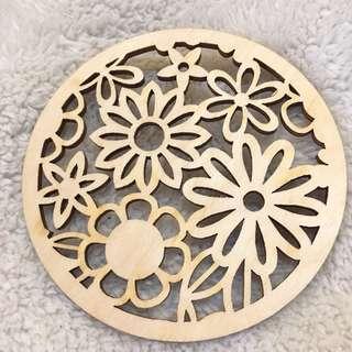 (Latvia) Wooden Stencil-cut Coaster (Floral B)