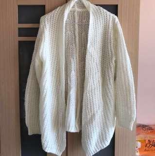 全新 白色毛衣針織外套