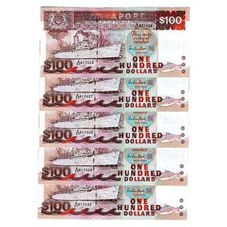 Ship Series $100 Banknotes 817026 - 817030
