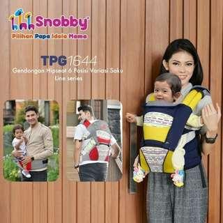 Gendongan Hipseat Dudukan Bayi Snobby Linen Plus Sarung Penutup Kepala