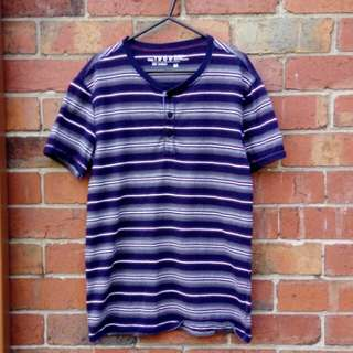 Striped henley button tee | Size M