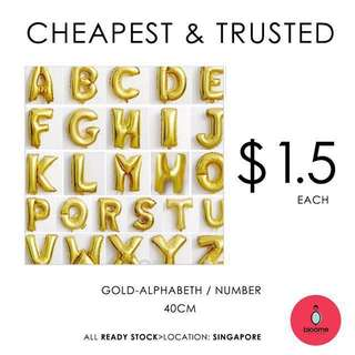 40cm alphabets/number gold foil balloon all ready stock