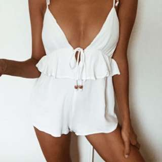 Cute white summer playsuit