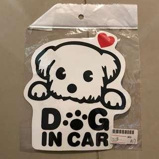 Dog in car 車貼紙 狗狗