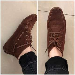 全新 真皮精靈豆豆鞋