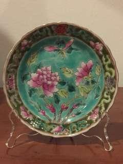 Peranakan Nyonya Straits Chinese famille rose saucer (PL09)