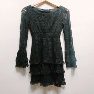 Dress lace hitam brukat