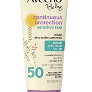 Aveeno Baby Continuous Protection Sensitive Skin SPF50 Lotion 4oz
