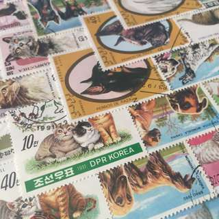 50 different Dogs & Cats stamps