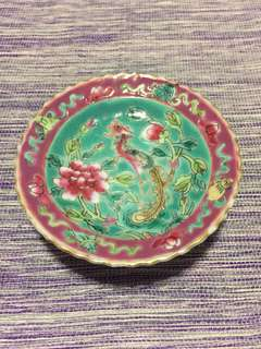 Peranakan Nyonya Straits Chinese famille rose footed-saucer (PL11)