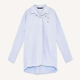 Zara light blue with pearl top