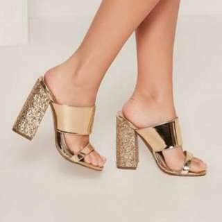 Rose gold glitter block mule heels
