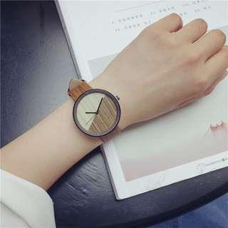 森女系 木紋 簡約 小清新 手錶