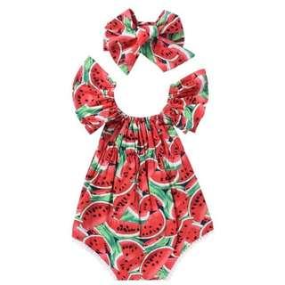 Preorder baby girl's romper watermelon jumpsuit + headband