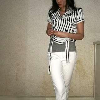 Jeans stripe crop jacket