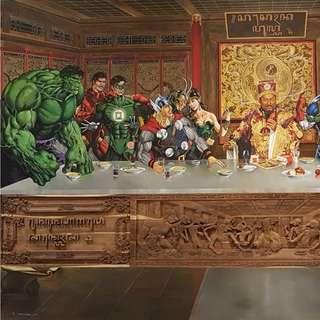 The Avengers/Justice League/ Super Hero Last Supper