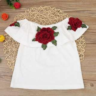 Preorder girl's 3D flower tops